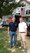 Pat Pitrone and Aaron Jais in front of Haworth home