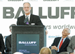 Balluff Inc. President Kent Howard speaking at Monday's ribbon cutting ceremony.