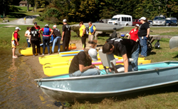 Athletes prepare their water craft for the Challenge.