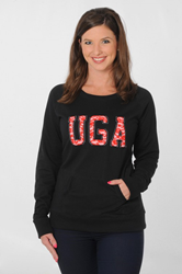 Stay warm this football season with UG's sassy Georgia Bulldogs Pullover with Lace Appliqué!