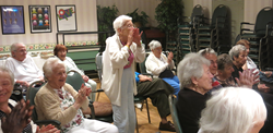 Cheering at Lester Senior Housing Community during a week of music
