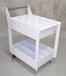 A Chemical Bottle Cart made with Flametec has space for 24 one-gallon bottles.