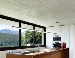 Cirrus Channel Suspension R1 by Edge Lighting: specification-grade linear LED lighting over kitchen island