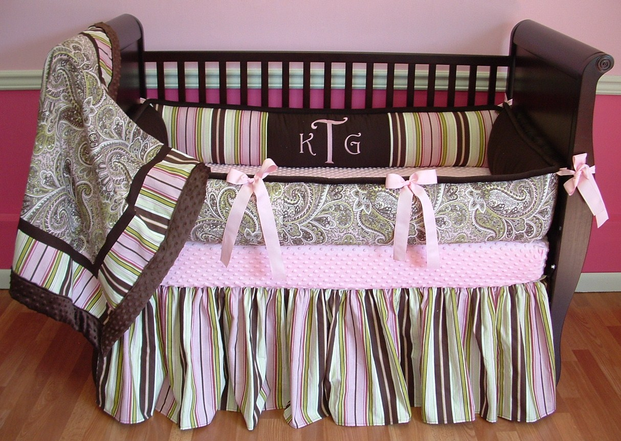 Baby cribs green - Kelley Paisley Pink Brown Green Crib Bedding Boy Baby Bedding Crib Sets Custom Girl Baby Bedding