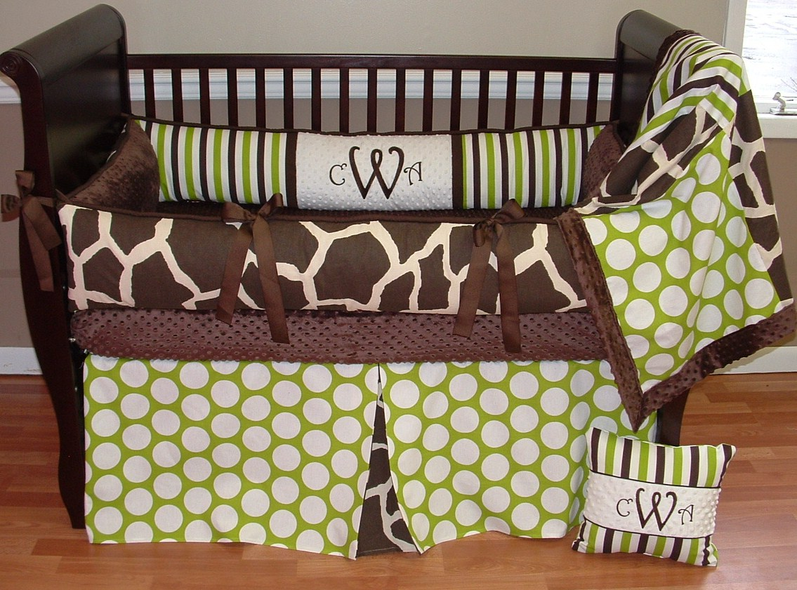 Baby cribs green - Sweet Pea Giraffe Brown And Green Boy Crib Bedding Boy Baby Bedding Crib Sets Custom Girl Baby Bedding