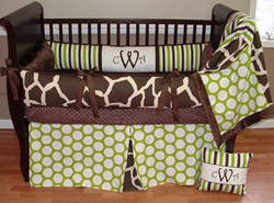 Sweet Pea Giraffe Brown and Green Boy Crib Bedding - $289.00 : Boy Baby Bedding Crib Sets, Custom Girl Baby Bedding