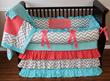 Sadie Coral & Tiffany Baby Girl Crib Bedding Set with Chevron and Polka Dots - $359.00 : Boy Baby Bedding Crib Sets, Custom Girl Baby Bedding