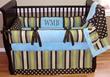 Wesley Stripes-N-Dots Aqua-Blue, Green, and Chocolate Brown Crib Set - $289.00 : Boy Baby Bedding Crib Sets, Custom Girl Baby Bedding