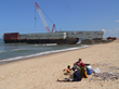 Pontoon Sections land ashore in MOMA, Mozambique