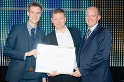 Greg and James Bloor receiving the Best in Effectiveness award from Steve Antoniewicz at the RAR Awards 2014