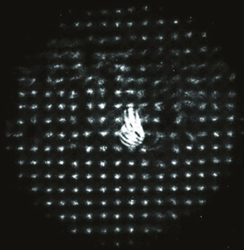 Drop-out and Smearing of the Lenslet  Pattern from a Dry Spot on the Cornea is Evident on  This Raw Hartmann-Shack Image