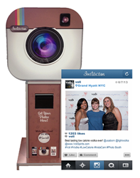 Guests Take a photo with Instagram from their Smart Phone or directly at the Kiosk.
