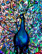Peacock stained glass window panel