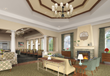 Comfortable Living Room and Social Area With Cozy Fireplace at Discovery Village At Naples in Naples, Florida.