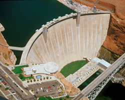 An overhead view of Glen Canyon Dam.