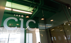 CIC logo etched into door glass