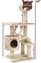 49″ Castia Fur Cat Tree 78899578052 By Majestic Pet Products
