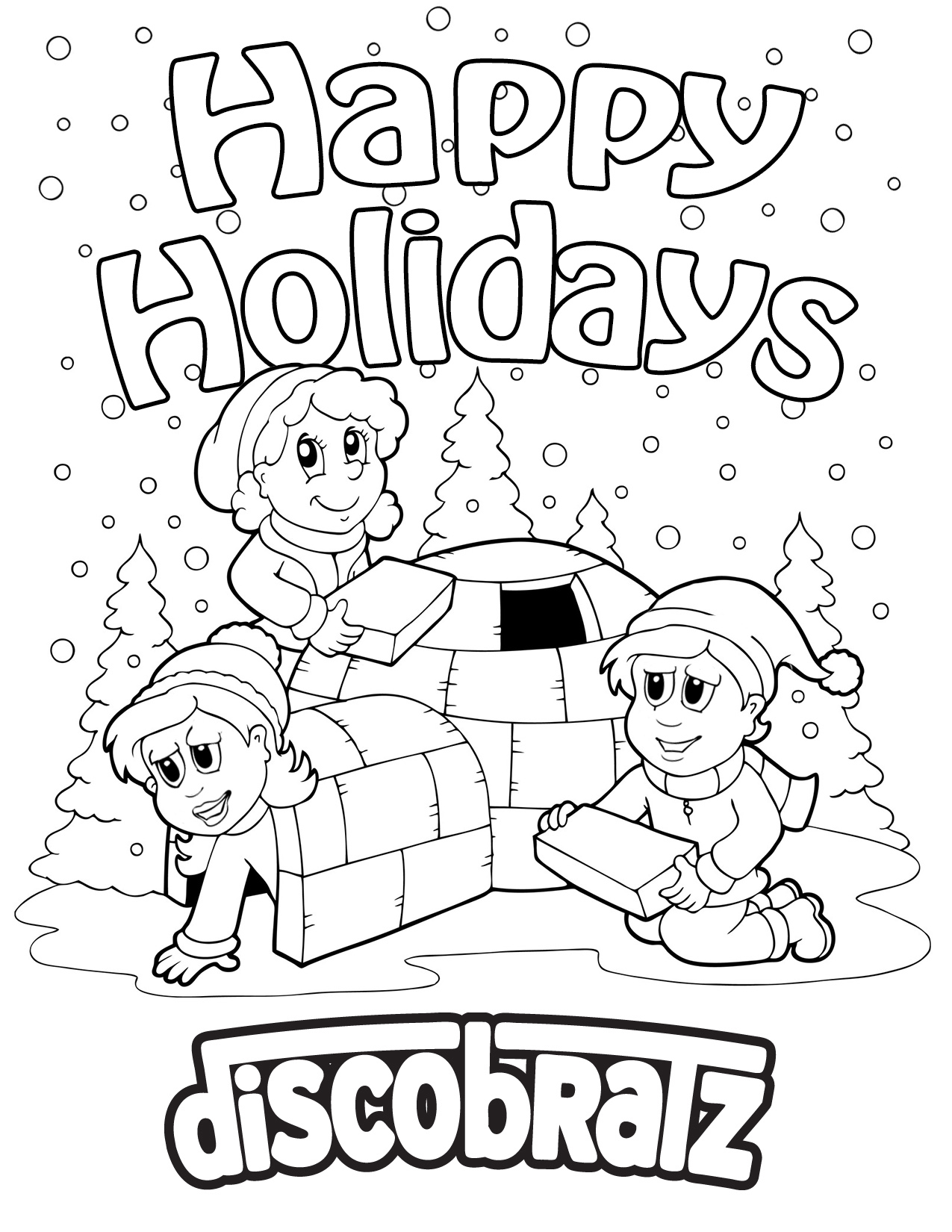 discobratz welcomes the winter weather with a holiday coloring page