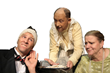 Sierra College serves up mad-capped fun in their hilarious production of Neil Simon's Rumors featuring from left to right:  Jack Graham (left), David Borad (center) and Trish Schmeltz (right).