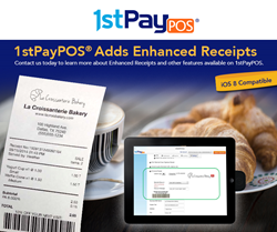 1stPayPOS now offers Enhanced Receipts with logo and discount options