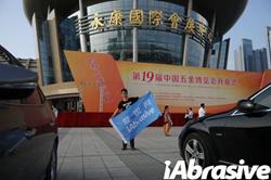 Liu Jiadong--an iAbrasive staff in the marketing department attended the China Hardware Fair in Yongkang.