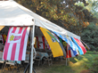 German flags adorned the tent.