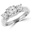 14 karat white gold, three-stone diamond engagement ring