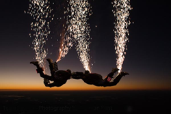 pyrotechnic skydive