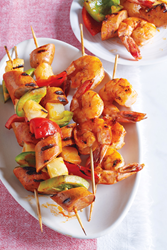 Shrimp, Sausage, and Pineapple Skewers