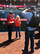 Discover Orange County™ Filming Day Behind-The-Scenes at Angel Stadium of Anaheim. Lisa Interviewing Brian Sanders, Sr. Director of Ballpark Operations.