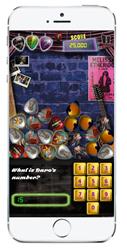 "The primary gameplay screen of Melissa Etheridge's ""Take My Number"" Phonebook Challenge"