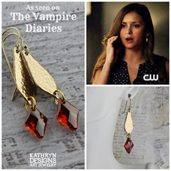 Elena Gilbert (Nina Dobrev) wore Kathryn Designs' Long Earrings in Gold Bronze with Magma Swarovski Crystals on Episode 601 of the CW Network's The Vampire Diaries.