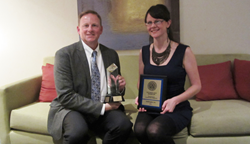 Steve Ausdenmoore, Director of Construction for Petco and Kaely Culbertson, Implementation Manager for Projectmates Construction Project Management Software with the 2014 Constructech Vision Awards.