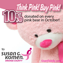 Giant Pink Teddy Bear Lulu Shags Supports Susan G. Komen Orange County Breast Cancer Awareness