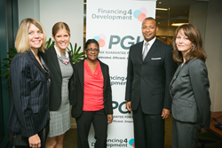 L-R: Jenn Pryce, President and CEO, Calvert; Beth Bafford, Strategic Initiatives Group, Calvert; Sheila Saxton, Loan Servicing, Calvert; Aron Betru, Managing Director, PGH; Catherine Hein, Legal Counsel, PGH