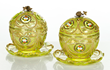 Pair of 19th C. Bohemian Glass Candy Dishes