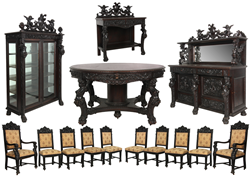 14-piece figural carved oak dining room suite by R.J. Horner, in excellent condition and with a beautiful dark brown original finish.