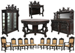 14-piece figural carved oak dining room suite by R.J. Horner, in excellent condition and with a beautiful dark brown original finish. est. $40,000-$60,000