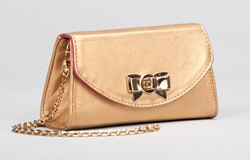 VIOLET Gold leather mini clutch with bow lock and detachable shoulder chain