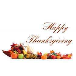 An Image of a Cornucopia with Happy Thanksgiving