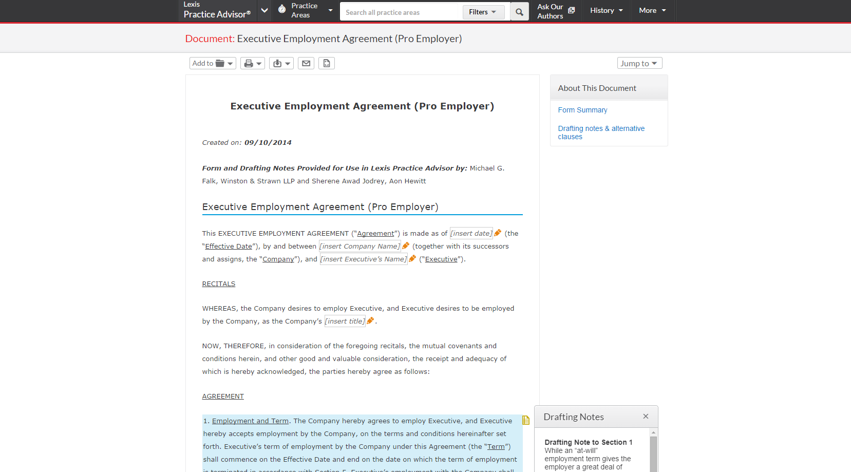 FormExecutive Employment Agreement With Drafting Notes And Alternate  Clauses Content Litigation