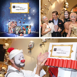 "Benoit Moquin, Pierre Belvédère`s Director Marketing & Product Development, having a blast with the artists from ""O""  by Cirque du Soleil during last week`s official launch of Pierre Belvédère Inspired by Cirque du Soleil exclusive stationery collection."