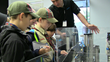 Boy Scouts learning about Machine Safety during an interactive demonstration.