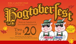 Hogtoberfest at Red Hot & Blue Restaurants - Two for $20 for a Limited Time