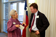 Westminster's Library Committee Chair, Helen Spear, speaks to Tim Staley, executive director of the Austin Public Library Friends Foundation.