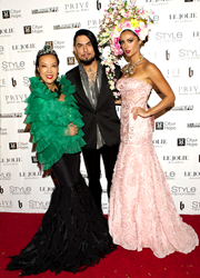 "Fashion Designer Sue Wong Walks the Red Carpet of Her Spring 2015 ""Fairies & Sirens"" Fashion Show with Rockstar Dave Navarro and Celebrity Model Katie Cleary"