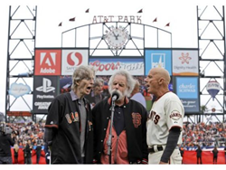 Tim Flannery, Bob Weir and Phil Lesh sing National Anthem at Giants Game