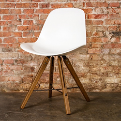Nuevo Living HGDA354 Shell Dining Chair in White Leather and Fumed Oak