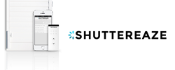 ShutterEaze unit on plantation shutter, remote control, and smartphone app