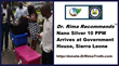 Nano Silver 10 PPM Arrives At State House, Sierra Leone, September 28, 2014